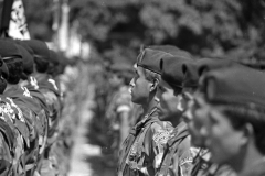 "El Salvador, 1992. Dissolution ceremony of ""Atlacatl"" Battallion, responsible of major Human Rights abuses (ie.Mozote massacre)."