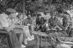 1992, Aguacayo, Cuscatlán. UN Peace Mission (ONUSAL) meeting with local guerrilla forces commanders.